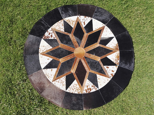 "Cowhide Patchwork Rug Round Brown Black Star Geometric 48"" 4ft Western Area Rugs"
