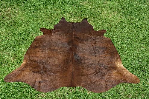 Cowhide Rugs Brown Brindle Leather Area Rug 5.5 x 5.5 ft