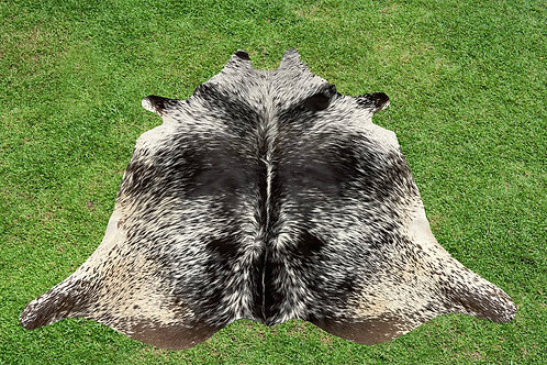Small Cowhide Skin Area Rugs Black Leather 4.5 x 4.5 ft