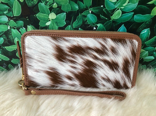 Cowhide Pony Hair Continental Wallet Wristlet Brown