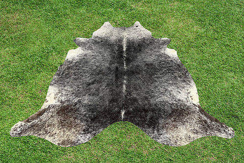 Large Cowhide Skin Area Rugs Black Leather 6 x 6 ft