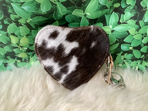 Real Cowhide Coin Purse Keychain Id Card Case Gifts Heart