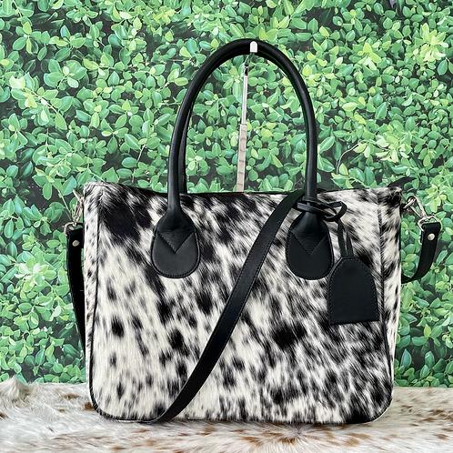 Medium Real Cowhide Handbag Purse Tote Shoulder Bags Black Leather