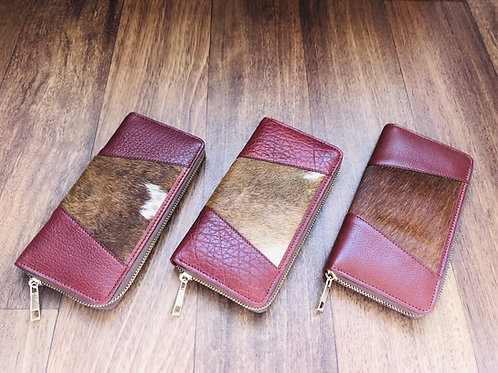 Cowhide Wallet Brown Leather Card Case Organizer