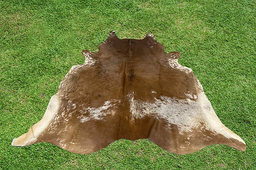 Large Cowhide Rugs Brown Leather Area Rug 6 x 5.5 ft