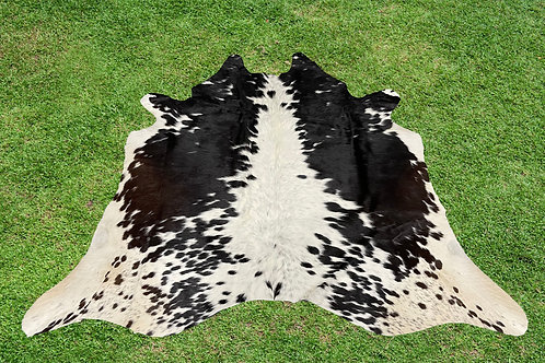 Small Cowhide Rugs Tricolor Black Brown Area Rug 5 x 5 ft