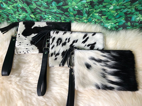 Real Cowhide Purse Wallet Clutch Pony Hair Fur Black White