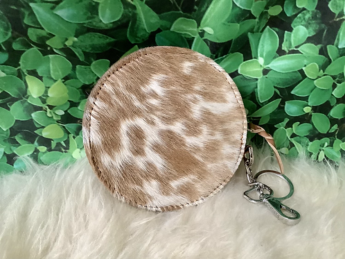 Real Cowhide Coin Purse Keychain Id Card Case Gifts
