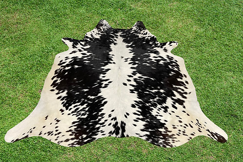 Small Cowhide Skin Area Rugs Black Leather 5 x 5 ft