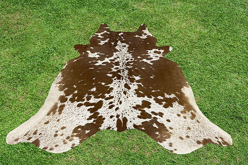 Medium Cowhide Rugs Brown Leather Area Rug 5.25 x 5 ft
