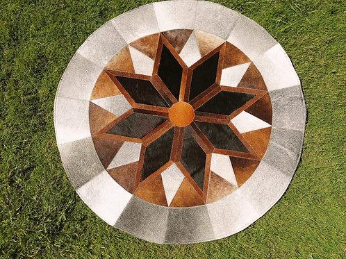 "Cowhide Patchwork Rug Round Gray Brown Black Star Geometric 48"" Western Area Rug"
