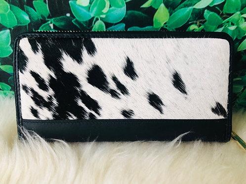 Black Cowhide Leather Continental Wallet Ladies
