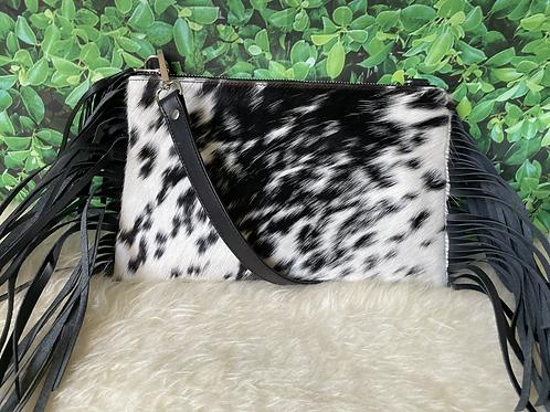 Cowhide Crossbody Purse Handbag Wallet Clutch Black