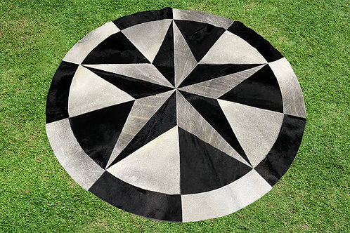 7 ft Cowhide Patchwork Rug Round Gray Black Star Western Area Rugs 100% Natural