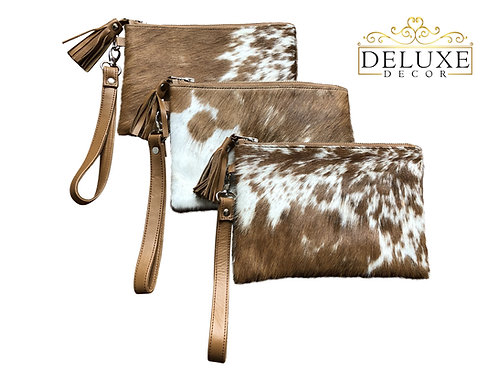 Cowhide Wristlet Clutch Lined Double Sided Fur Brown White