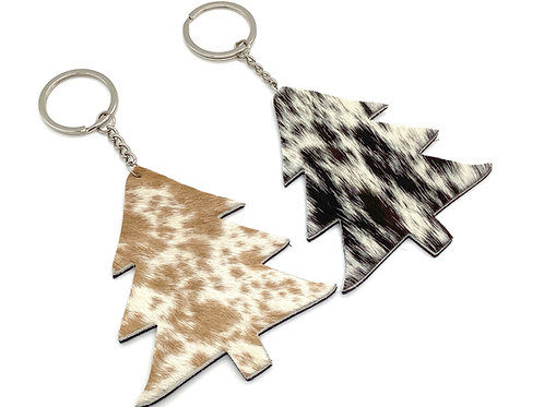 Cowhide Keychain Key Ring Leather Christmas Tree Holiday Gift Souvenir