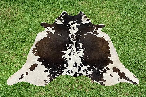 Cowhide Rugs Tricolor Black Brown Area Rug 5 x 4.5 ft
