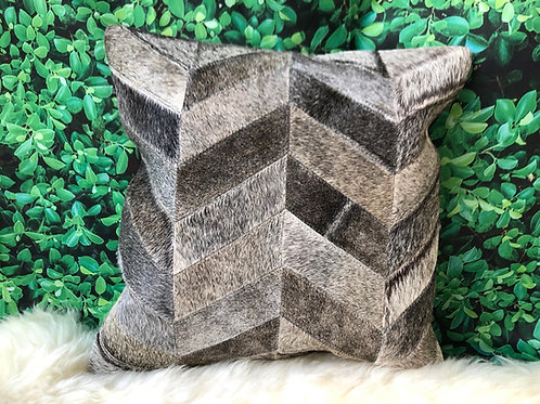 Cowhide Pillows Cushion Covers Leather Gray Chevron (Single Cover)