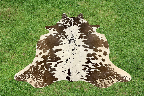Small Cowhide Rugs Brown Leather Area Rug 4.25 x 4.25 ft