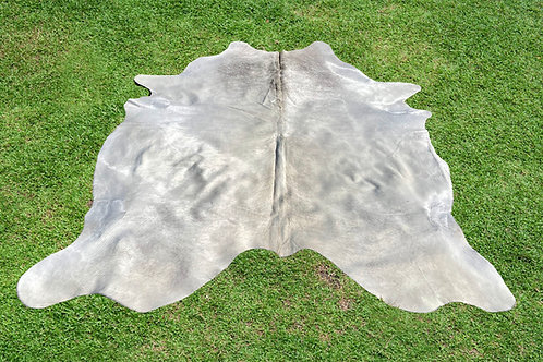 XL Cowhide Rugs White Grey Area Rug 6.5 x 6.5 ft