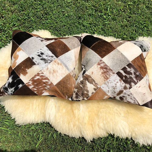 Real Cowhide Pillows Cushion Covers Leather Handmade Patchwork