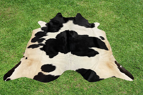 Small Cowhide Rug Area Black Brown Leather 5 x 5 ft