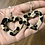 Thumbnail: Cowhide Earrings Heart Dangle Leopard Animal Print