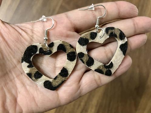 Cowhide Earrings Heart Dangle Leopard Animal Print