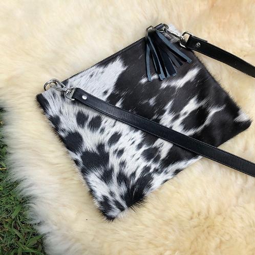 Cowhide Crossbody Purse Handbag Wallet Clutch Black White Pony Hair