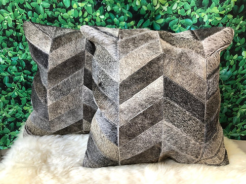 Cowhide Pillows Cushion Covers Leather Gray Chevron Set of 2