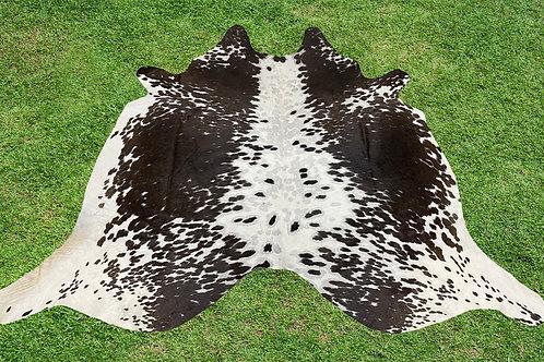 Medium Cowhide Rugs Tricolor Black Brown Area Rug 5.5 x 5 ft