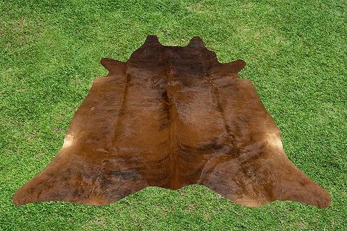 Cowhide Rug Brown Brindle Area Rug 5.5 x 5 ft Medium