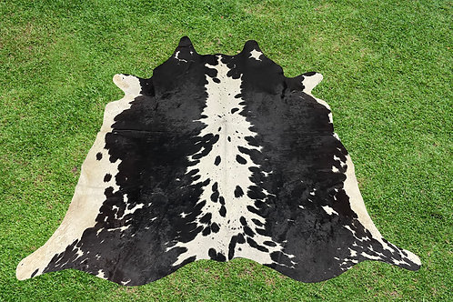 Cowhide Skin Area Rugs Black Leather 5.25 x 5.25 ft