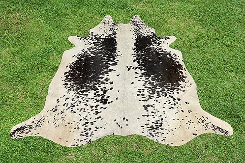 Medium Cowhide Rug Area Black Chocolate Leather 5.25 x 5.25 ft