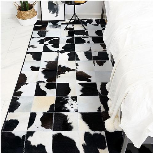 Cowhide Rug Patchwork Area Rugs Runner Cow Hide Animal Skin Print Black