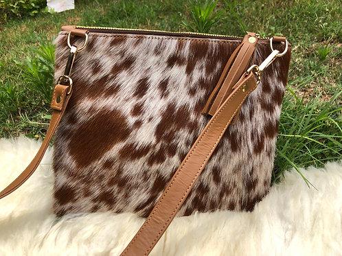 Cowhide Crossbody Purse Handbag Wallet Clutch Brown White  Cow Leather