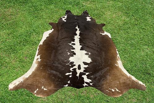 Cowhide Rugs Tricolor Brown Area Rug 5.5 x 5 ft