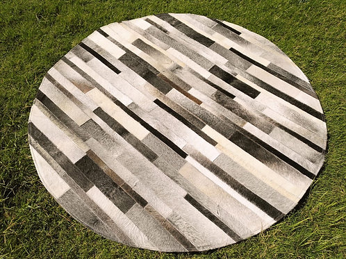 """Cowhide Patchwork Rug Round Gray Stripes Tiles 48"""" 4ft Western Area Rugs"""