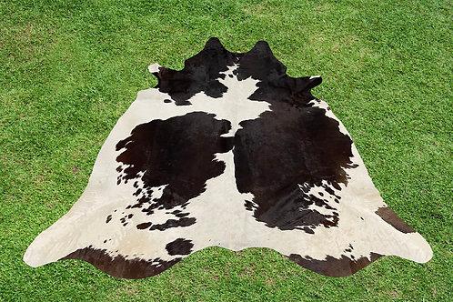 Cowhide Rugs Tricolor Black Brown Area Rug 5.25 x 5 ft
