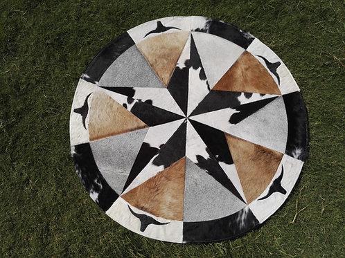 Cowhide Patchwork Rug Round Gray Brown Black Star Western Area Rugs