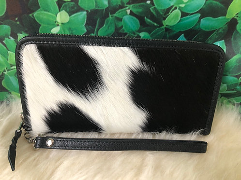 Cowhide Wallet Purse Pony Hair Continental Wristlet Black