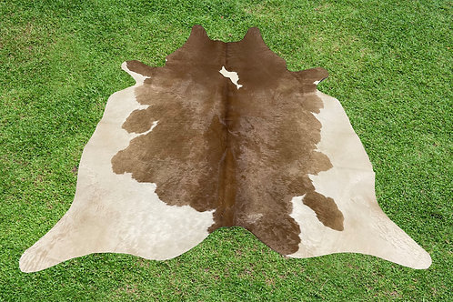 Small Cowhide Rugs Brown Leather Area Rug 5 x 4.5 ft