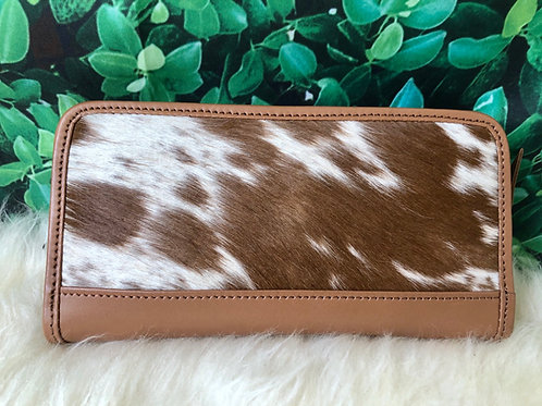 Cowhide Wallet Zip Wristlet Clutch Brown Leather