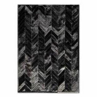 Solid Black Real Cowhide Chevron Patchwork Area Rug