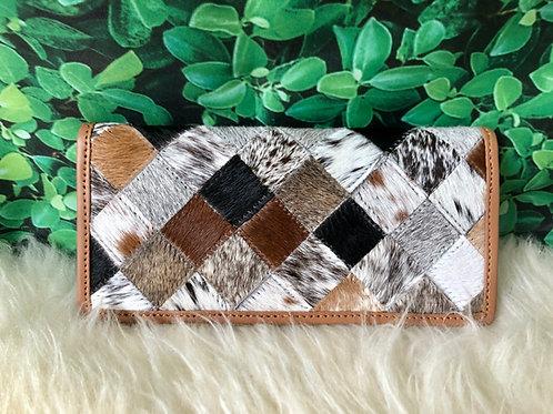 Cowhide Wallets for Women Slim Wallet Bifold Patchwork