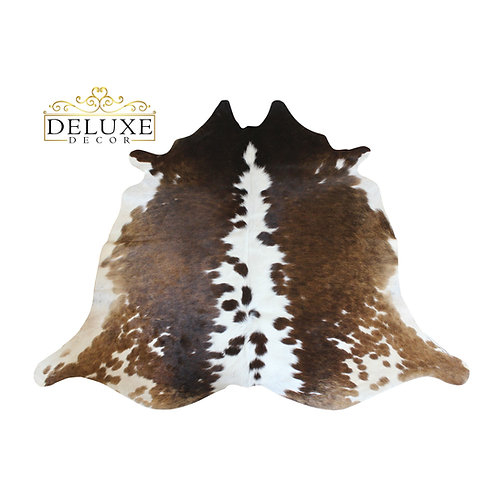 Small Tricolor Cowhide Rug Hair On Cow Skin Rugs 4 X 4 By Deluxe Decor