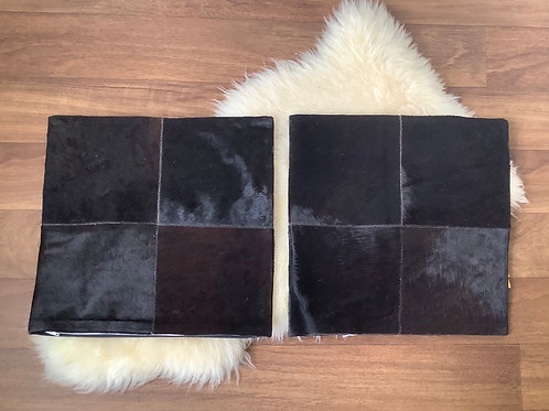 Real Cowhide Pillow Covers Black Brown Patchwork