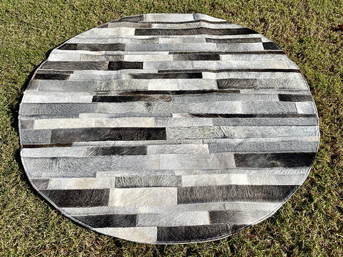 Cowhide Patchwork Rugs Round Area Rug Gray