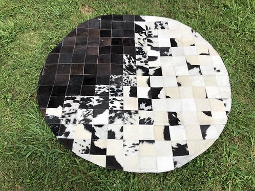 Cowhide Rugs Round Area Rug Tricolor Southwestern Geometric Custom