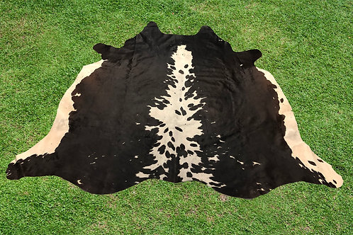 Small Cowhide Area Rugs Black Chocolate Leather 5.5 x 5 ft